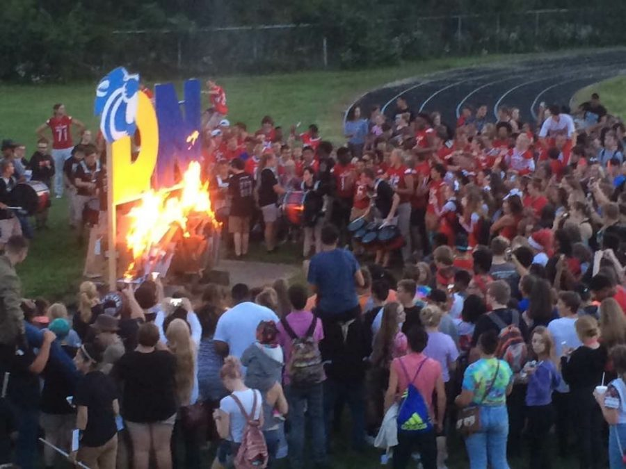 The bonfire at West on Thursday, Sept. 15 after the homecoming queen, Marie Le announced.
