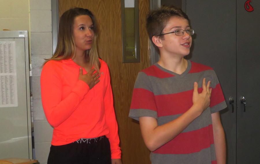 At the beginning of first block, students say the Pledge of Allegiance every day.
