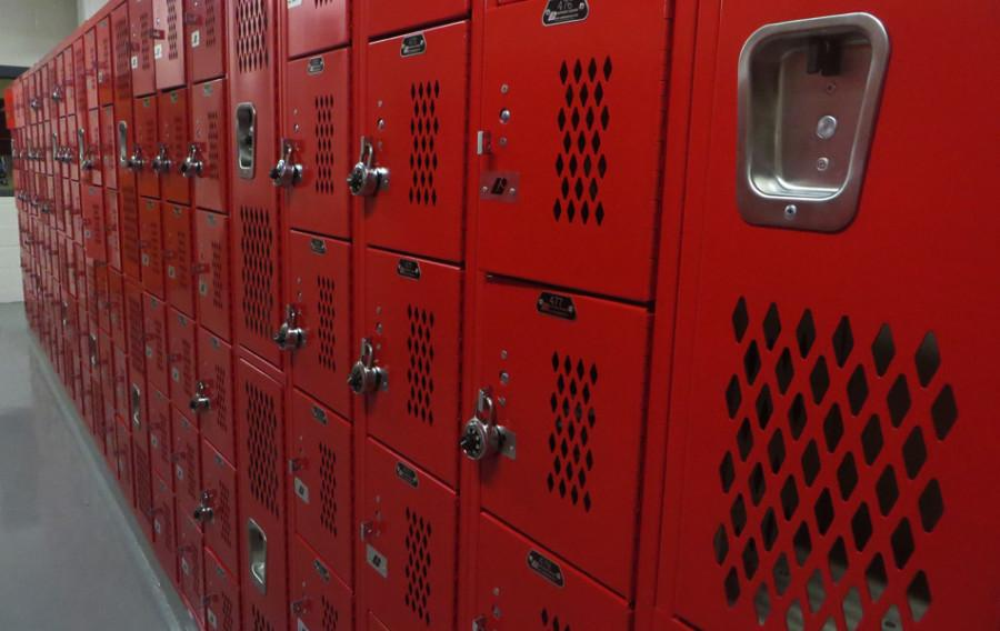 Bright red lockers were installed in the PE locker rooms this month.