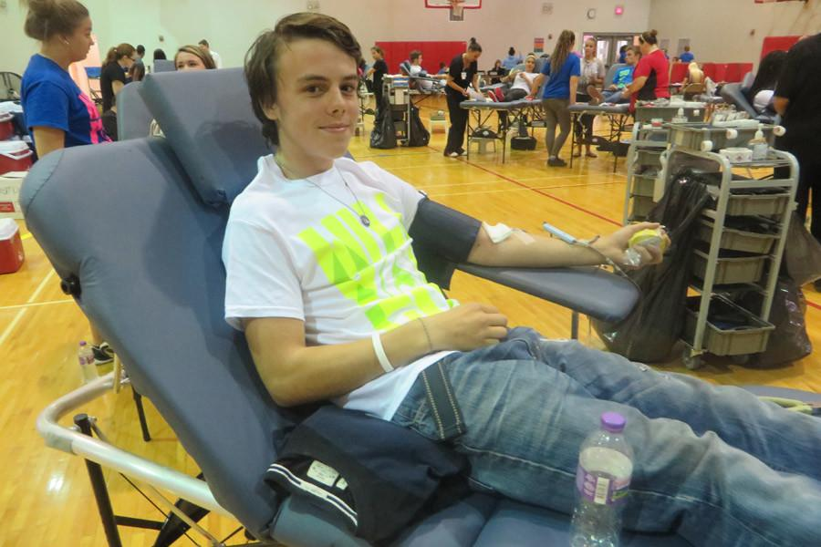 Students give blood during the first drive of the year on Sept. 9 in the Davenport Family Y.