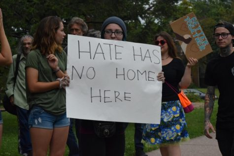 Protestors show their opinion on hate speech at the Quad Cities 'No Hate' rally.