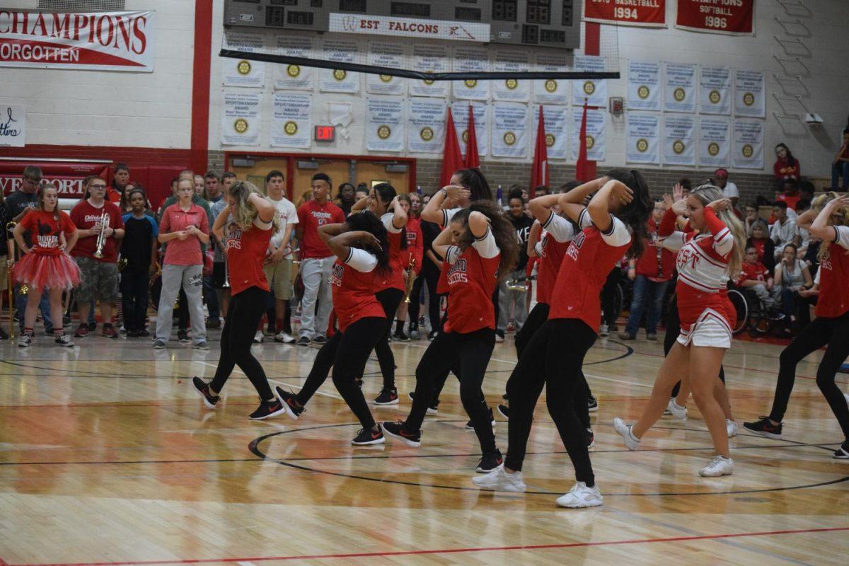 Diamond dancers at the homecoming pep rally.