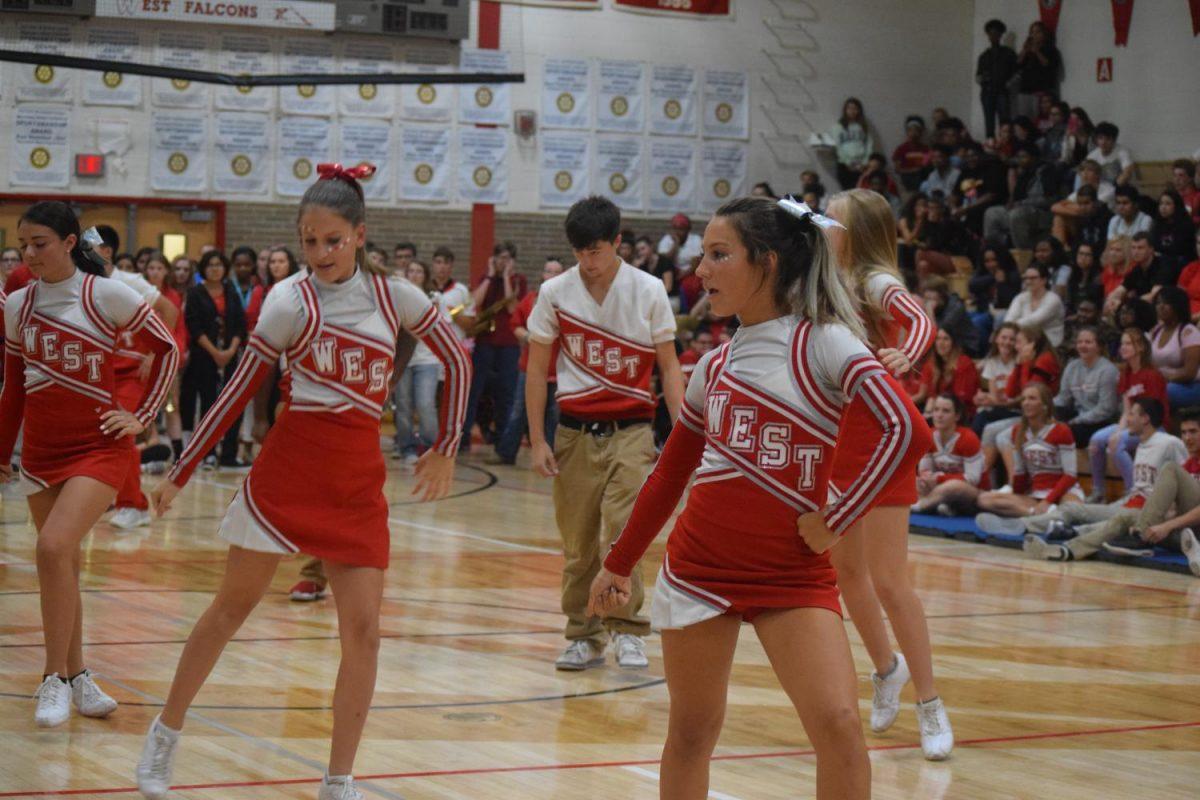 Junior Varsity cheerleaders getting everyone excited for homecoming tomorrow.