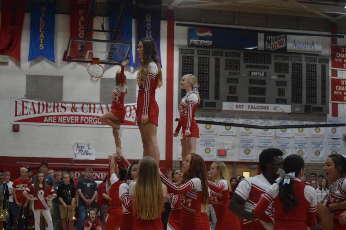 Junior Varsity cheerleaders at the pep rally.