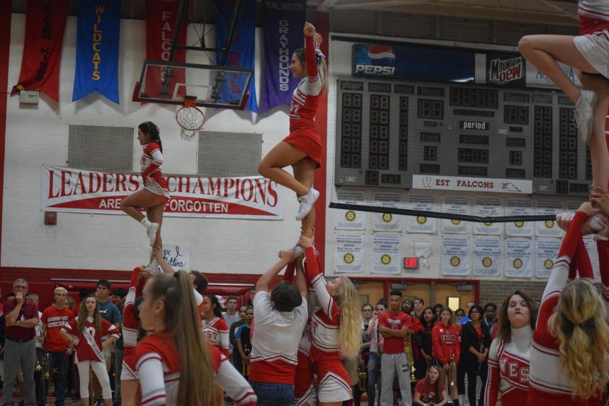 Varsity cheerleaders at the homecoming pep rally.