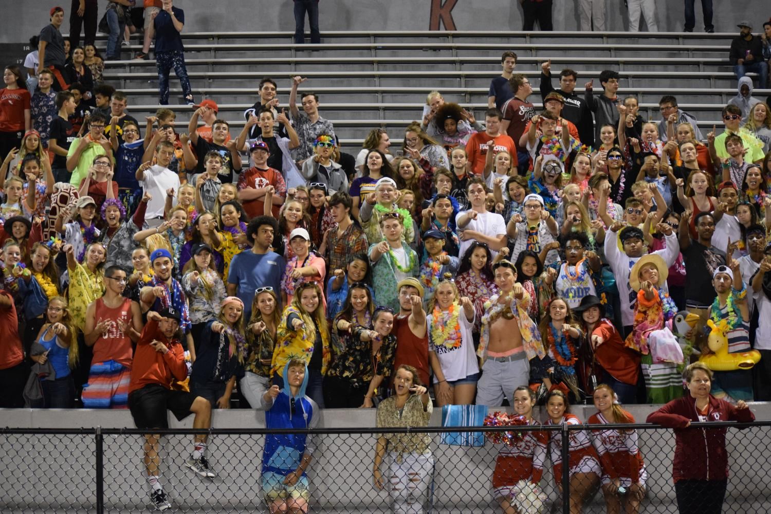 The students all dressed in the theme 'beach' to show unity and support for the football team.