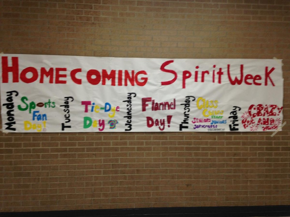 Student Senate promotes Spirit Week themes with posters.