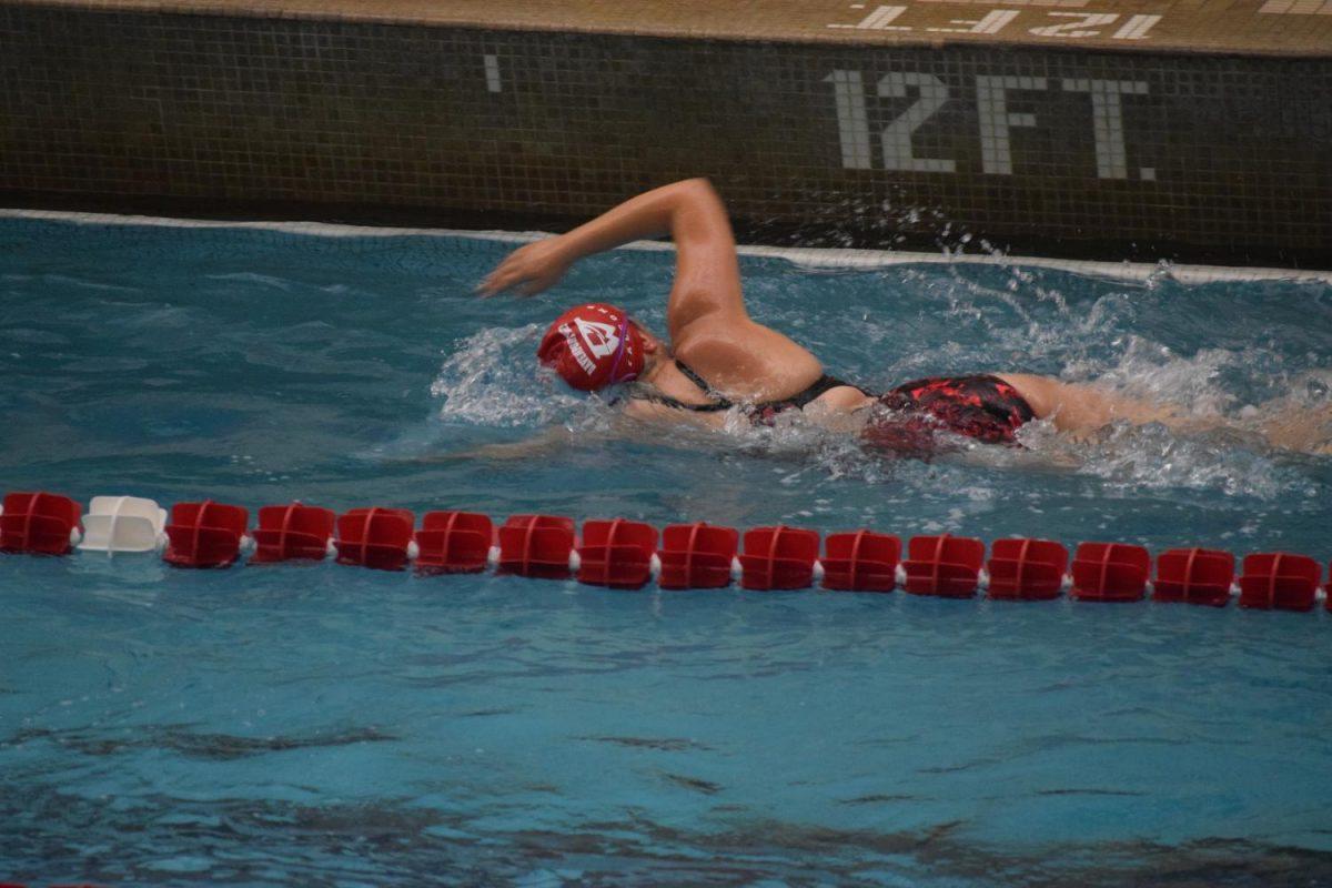 Falcons compete in freestyle against Burlington.