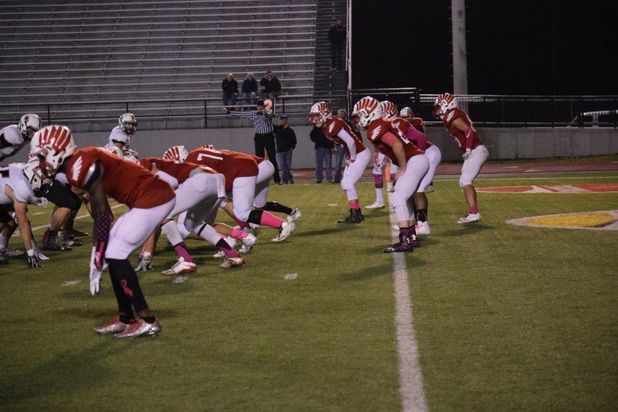 Varsity defense prepares to start.