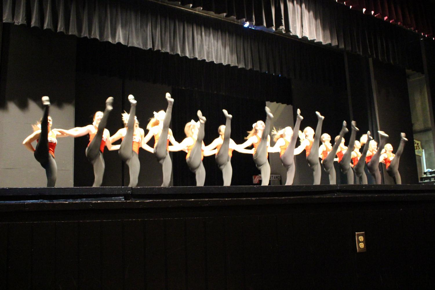 The Diamond Dancers perform at the winter sports kick off before announcing state competitions are Nov. 30.