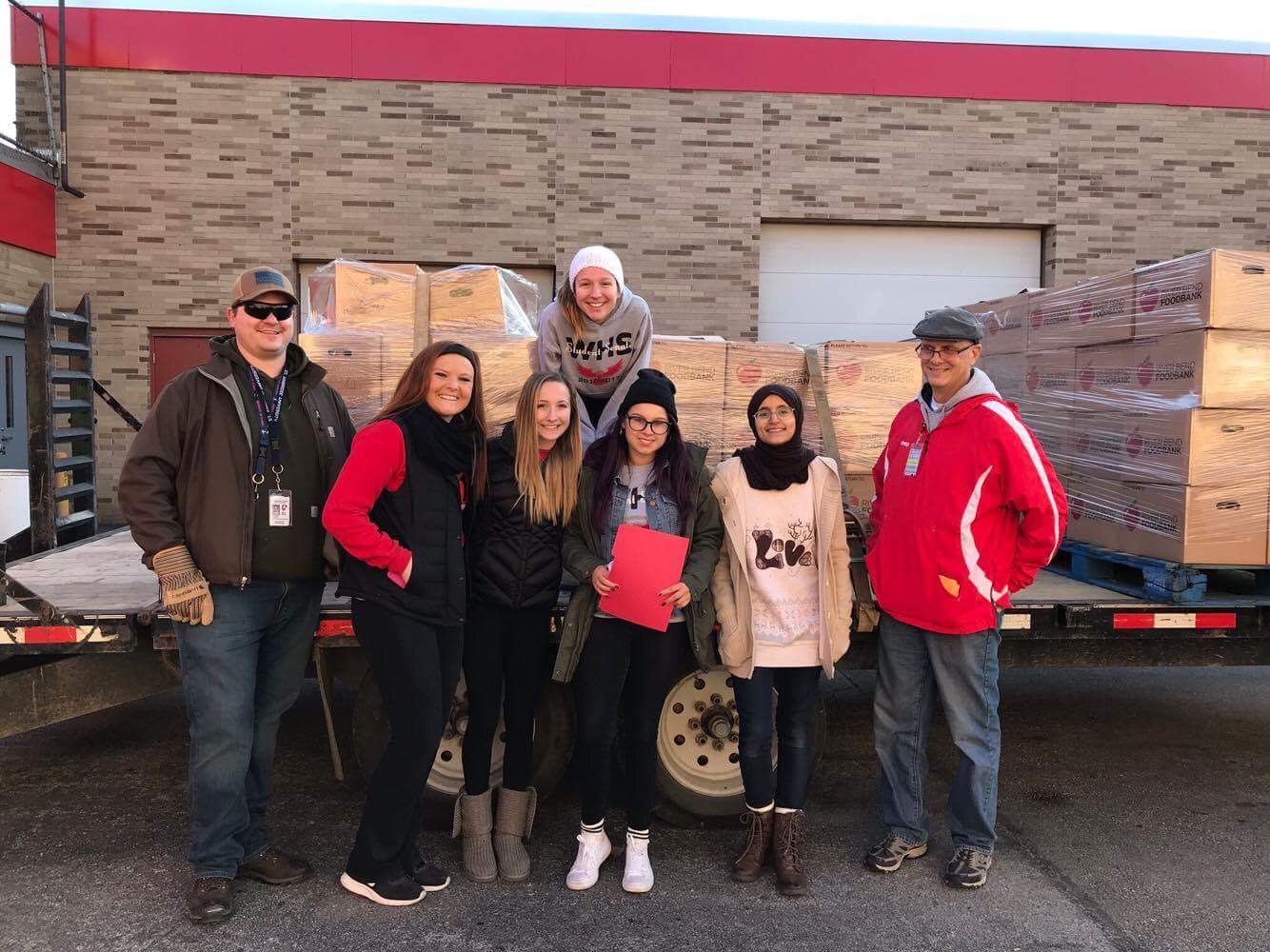Members of West's student senate loaded thousands of pounds in food donations to take to the River Bend Food Bank on Thursday, Nov. 9.