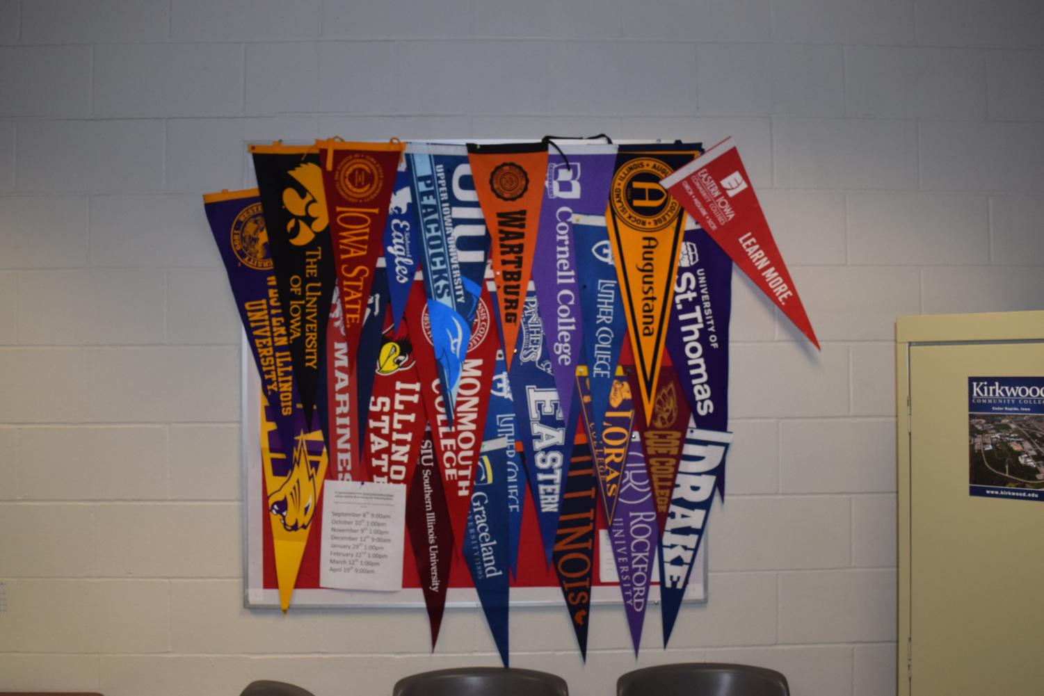 The guidance office represents the many colleges and universities that West students attend with college pendants.