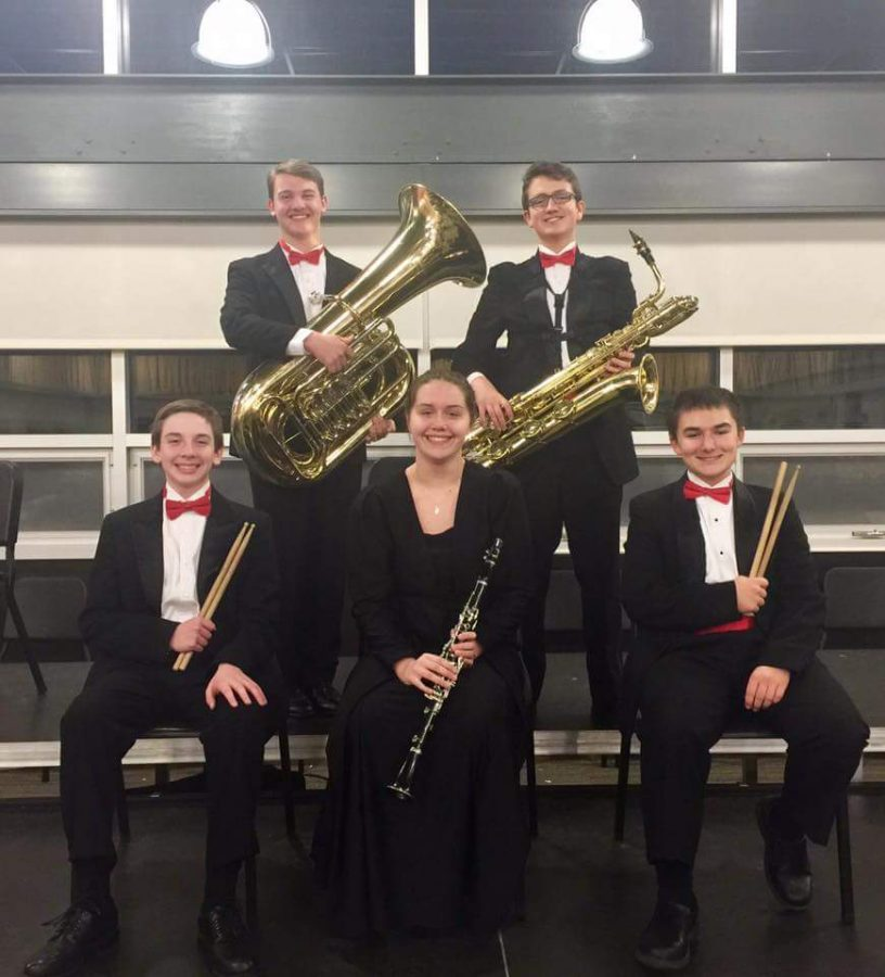 Top: Freshman Matt Reis-Tuba, Junior William Zogg- Saxaphone Bottom: Freshman Chase Bruns- percussion, Sophomore Danielle Stevens- clarinet, Sophomore Michael Hill- percussion