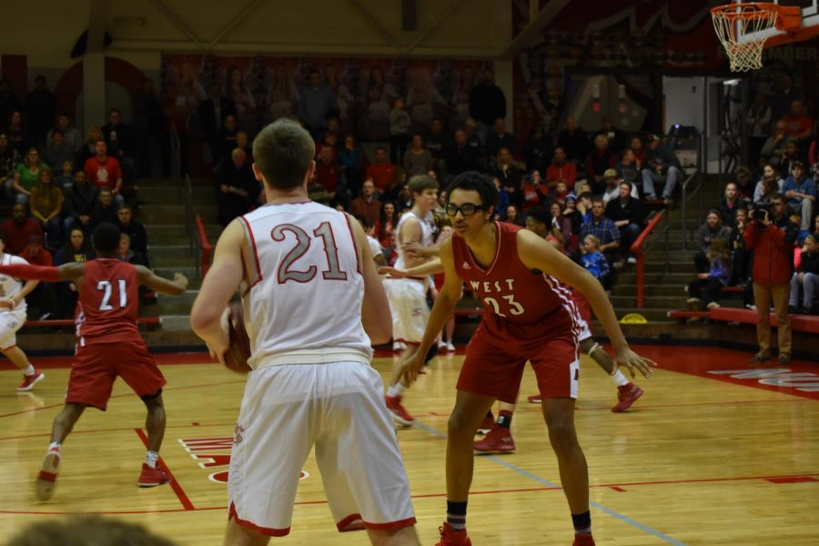 Senior Trey Sampson on defense.