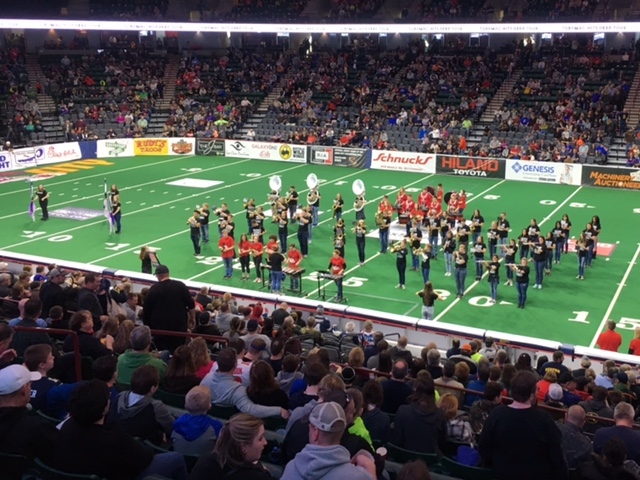 Marching+Band+plays+their+%22Wicked%22+show+during+halftime+at+the+Steamwheelers+game+on+Feb.+25.+Steamwheelers+fans+can+use+the+promo+code+DWEST+for+the+duration+of+the+season+and+20+percent+of+the+proceeds+go+to+West.+