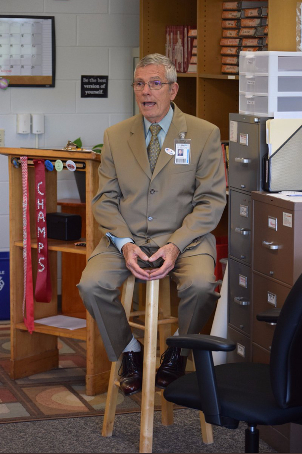 Superintendent Dr. Art Tate talks to West's News Lab class during a press conference in the fall of 2017.