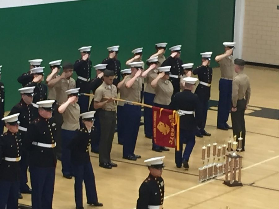 Davenport MCJROTC receives nine trophies at the award ceremony. Photo published with permission by Ryan Rice.