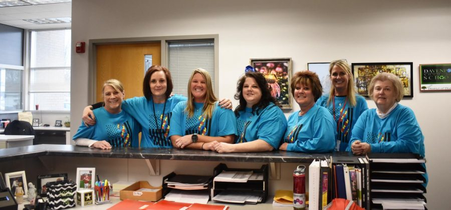 West shows its support during Autism Awareness Month by wearing light it up blue t-shirts.