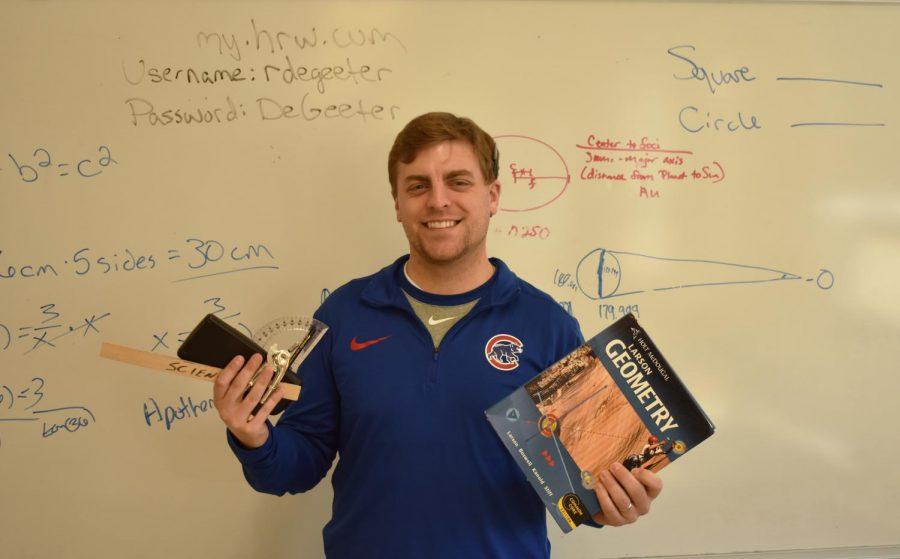 Geometry+teacher+Ryan+DeGeeter+displays+some+of+his+favorite+items.