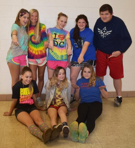 Student Senate members dress up to show off their school spirit on day one of Charity Week: Fashion Disaster.