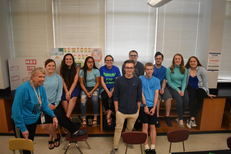Biology teacher Renne Lietz and her honors biology students dressed in their Blue Out outfits.