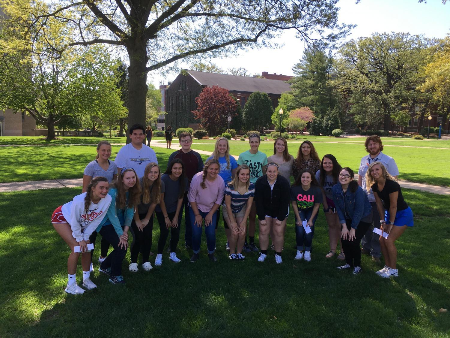West's Anatomy and Physiology class poses on the campus of St. Ambrose before making discoveries at the cadaver lab.