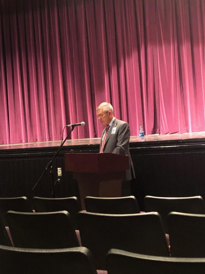 Superintendent Dr. Art Tate introduces the Vision 2020 plan at the public forum at West High School on June 12.