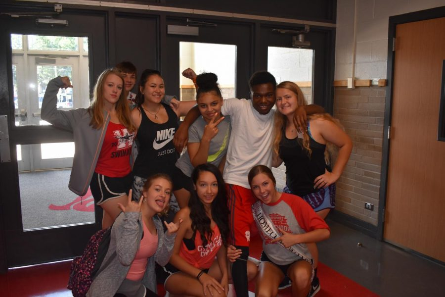 Chorale students pose in their athletic gear for 'Workout Wednesday'.
