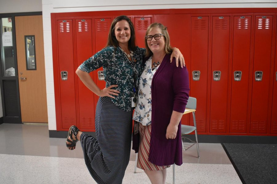 Spanish teachers Stephanie Hansen and Tammy Burton show off their outfits for 'Mix and Match Monday'.