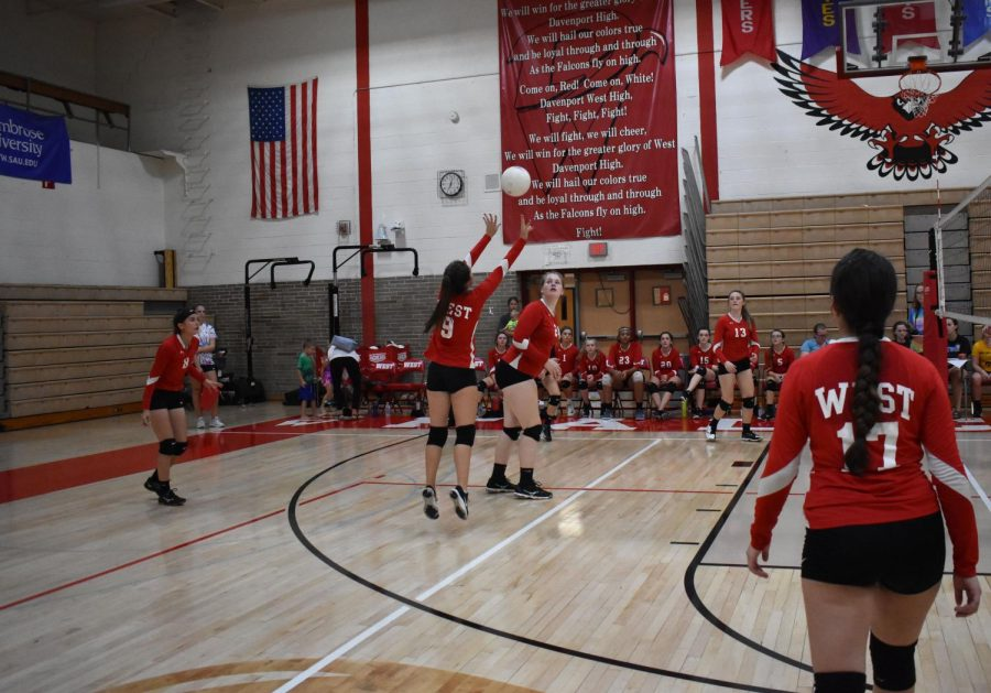 Setter Mackenzie Harland sets up the outside for a kill.