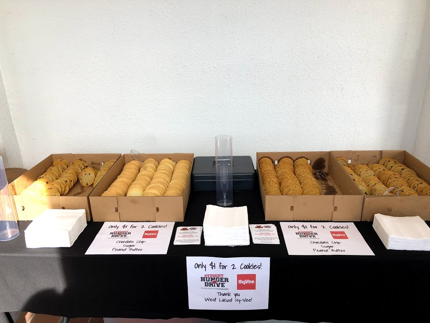 During finals week, Oct. 22-26, Student Senate sold two cookies for one dollar. All the proceeds went to the Hunger Drive.