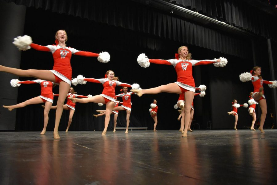 The Diamond Dancers performed their pom routine at the kick off before leaving for state on Nov. 30.