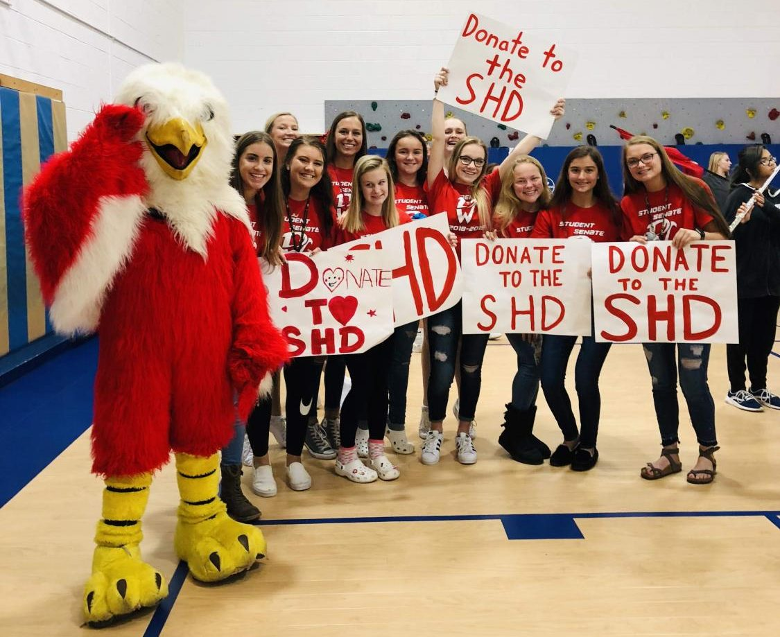 Freddie the Falcon shows his support for the Student Hunger-Drive and those without a meal.