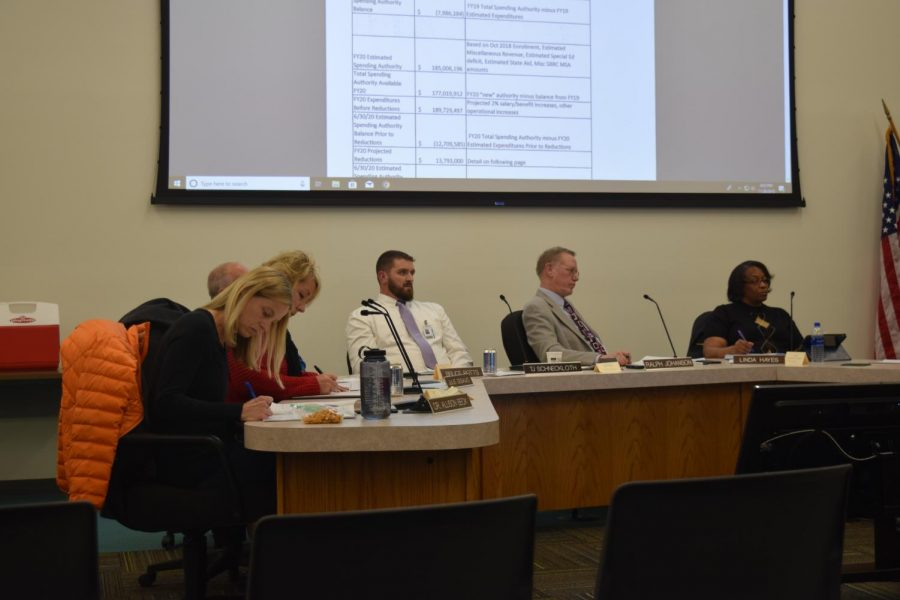 School Board Directors review budget reduction and sustainability plans at the Nov. 28 special call meeting.