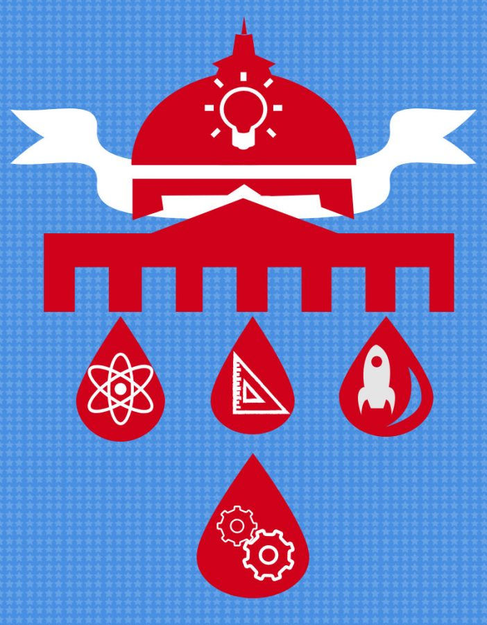 This graphic represents the U.S. State Capitol. The building with the ribbon symbolize the Capitol building, the water drops represent the Kenya water project created by West students, and the four images in the water drops are based on the four class types that make up the STEM education: science, engineering, technology, and mathematics. The light bulb on top of the Capitol building represents the flow of ideas being made in the building daily.