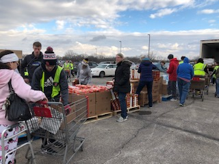 190 families were in attendance at West's first mobile food pantry put on by the River Bend Foodbank. With help from the boys track team, over 250 people were able to receive fresh food at no cost.