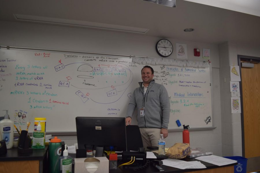 "Science teacher Brandon Yoder's goals for his classes vary throughout the year, but he is always just as involved in the class as his students are. ""I believe that every student is capable of doing well in my classes,"" Yoder said. ""It is my job to guide them where they need to go, to a certain extent they need to do things on their own, but I want them to pave that path to help get them there."""