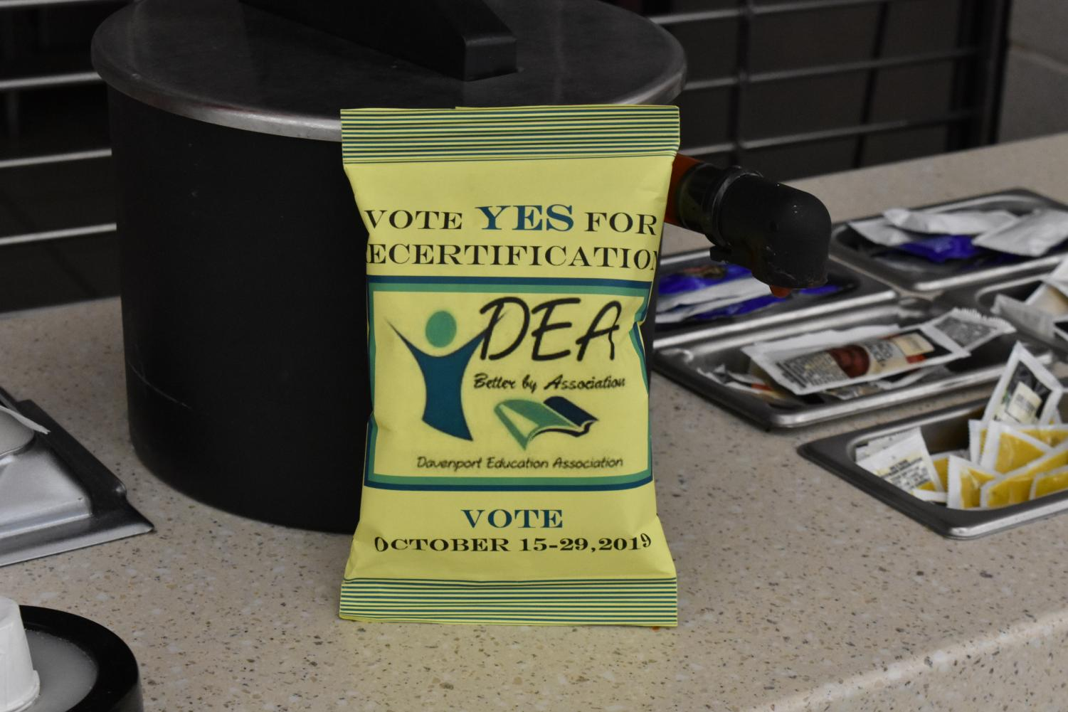 This bag of chips is used to spread awareness of the recertification. The bag acts as a reminder to vote yes for recertification.