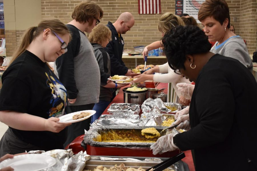 Through donations and with the help of Falcon and community volunteers including the boys soccer team, the Falcon Thanksgiving feast was able to feed over 80 people.