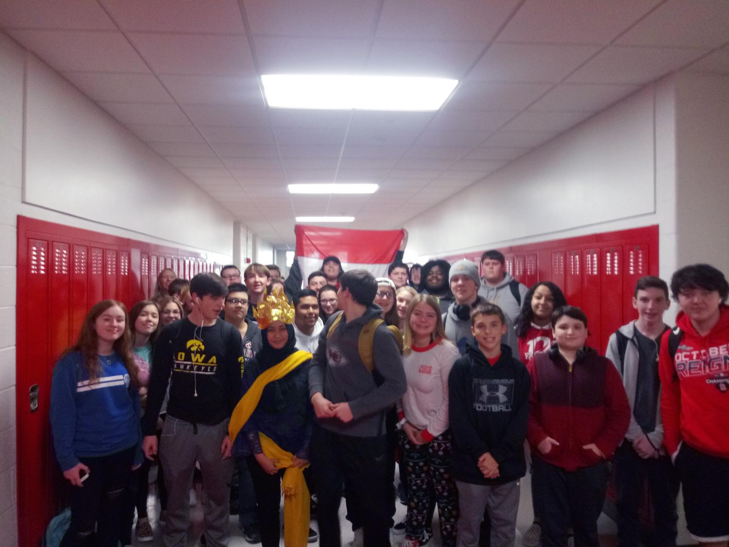 World language teacher Kris Castelluccio's Spanish 2 class of 37 fills the hallway after a presentation. Her class was leaving the classroom at the end of the Friday afternoon class and filled up a portion of the language hallway from one side to the other.