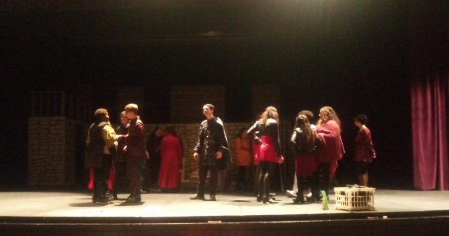 All of the Hamlet actors gathered on stage for a mic check. The cast went onto the stage, costume and all, to do a final check of the mics to make sure they were all working in preparation for the show.