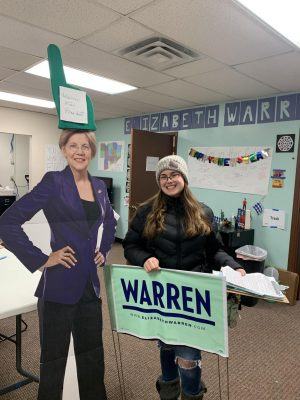 Keeping morality high is a priority in all campaigns, which is why the Warren office got a cardboard cut out of her. It makes a fun conversation piece too.