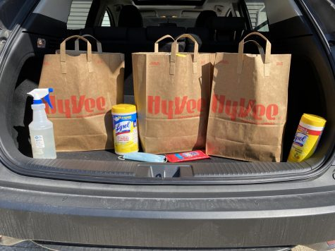 In the back of my car is an abundance of cleaning supplies including Lysol wipes, wet wipes, and a bleach spray. Every item that groceries come into our house, they have to be thoroughly disinfected, and if possible let sit for three days.