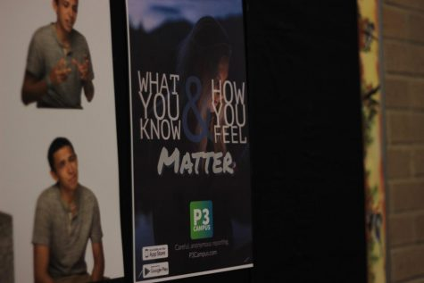 """A poster promoting P3 Campus hangs on a bulletin board in one of several spots around the building. """"I had some students and teacher assistants hang some posters up around the building, but I don't see many out there anymore,"""" Driscoll said."""